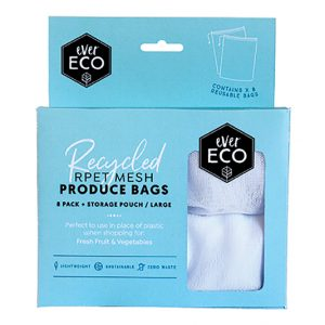 EVER ECO REUSABLE PRODUCE BAGS RPET MESH 8 PACK STORAGE POUCH www.motherbynature.com.au