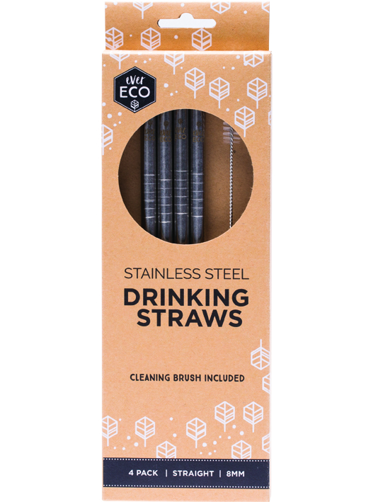 EVER ECO STAINLESS STEEL STRAWS STRAIGHT 4 PACK + BRUSH www.motherbynature.com.au
