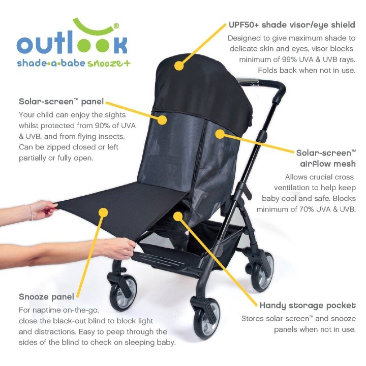 shade-a-babe 2 in 1 +snooze, by Outlook Baby  shade-a-babe 2 in 1 +snooze is the original high protection sun and sleep shade designed to protect your baby's delicate eyes and skin from the sun. Now with a NEW snooze blind so it can be naptime, anytime. • Guaranteed to fit your pram or pushchair, including front facing, rear facing and travel systems • All-round p
