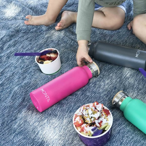 pink insulated drink bottle stainless steel bamboo screw cap lid, montii australia carabiner hook for backpacks motherbynature.com.au