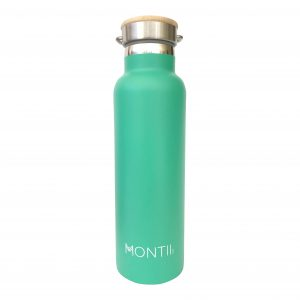 MONTIICO GREEN INSULATED DRINK BOTTLE www.motherbynature.com.au australia Insulated Drink Bottle stainless steel bottle with bamboo screw cap lid, 600ml, australia