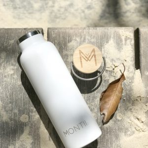 MONTIICO WHITE INSULATED DRINK BOTTLE www.motherbynature.com.au insulated drink bottle, stainless steel bamboo wide neck bottle