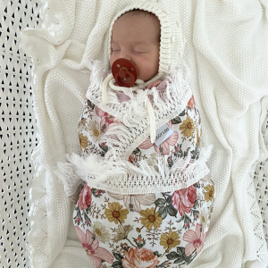 ZIGGY LOU PINK & YELLOW FLORAL DOUBLE GAUZE SWADDLE WITH CREAM FRINGE
