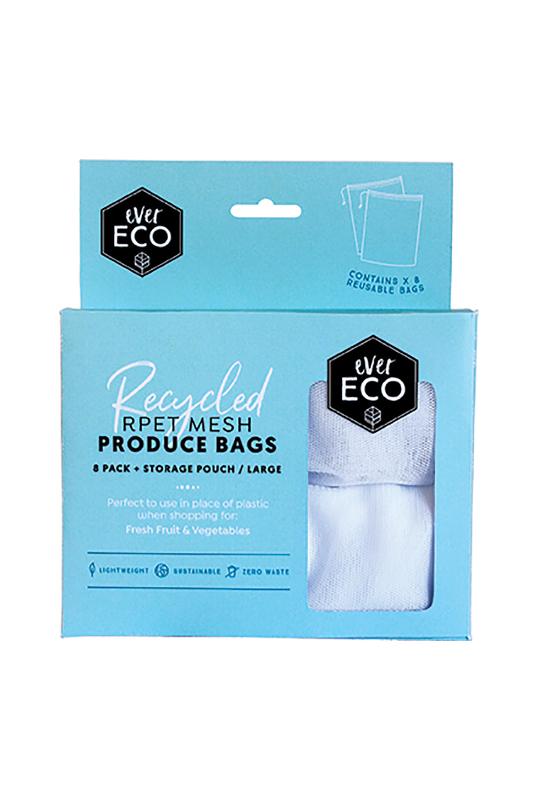 EVER ECO REUSABLE PRODUCE BAGS RPET MESH 8 PACK STORAGE POUCH www.motherbynature.com.au