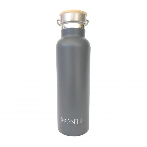 MONTIICO GREY INSULATED DRINK BOTTLE motherbynature.com.au insulated drink bottle montii 24 hour double walled stainless steel with sustainable bamboo screw cap lid 600ml australian owned