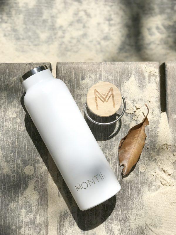 MONTIICO WHITE INSULATED DRINK BOTTLE www.motherbynature.com.au insulated drink bottle, stainless steel bamboo wide neck bottle