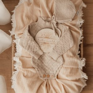 Ziggy Lou BEIGE SWADDLE WITH NATURAL FRINGE